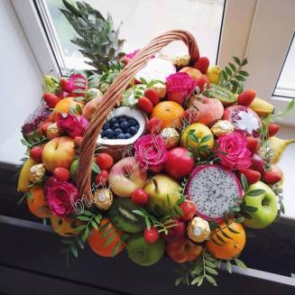 "Food bouquet of berries, sweets, roses, seasonal and exotic fruits in the basket ""Equator"""