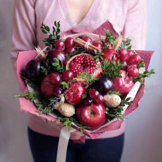 "Food fruit bouquet of apples, plums, grapes and ginger root ""Marsala"""