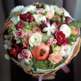 "Food bouquet of fruits and flowers ""Spring Romance"""
