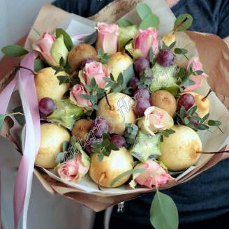 "Food fruit bouquet of pears, grapes, kiwi, exotic fruits and roses ""Carom"""