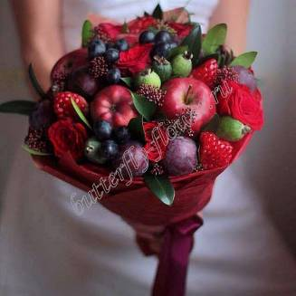 "Food bouquet of seasonal and exotic fruits and red roses ""Burgundy"""