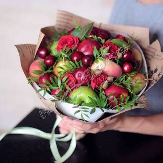 "Food bouquet of fruits and red roses ""Chisinau"""