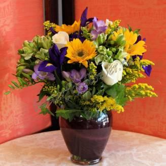 "Bouquet of sunflowers, roses, gerberas and seasonal flowers ""Fairytale Fantasy"""