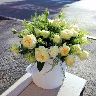 "Bouquet of cream peony roses in a designer box ""Creme brulee"""