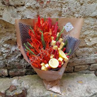 "Bouquet of crayfish, sausages, herbs and cheese ""Delicious No.722"""
