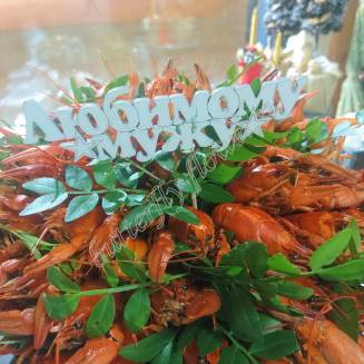 """Bouquet of 1.5 kg of crayfish and herbs in a military helmet """"Delicious No.731"""""""