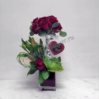 "Bouquet with roses, lilies and echeveria in a vase ""From the bottom of my heart"""