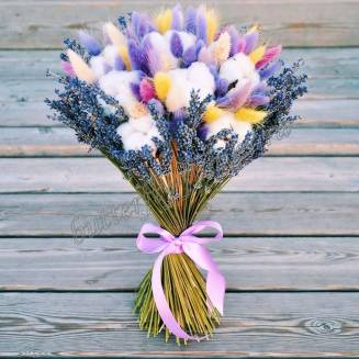 """Bouquet of dried flowers - lagurus, lavender and cotton """"Rainbow in the clouds"""""""