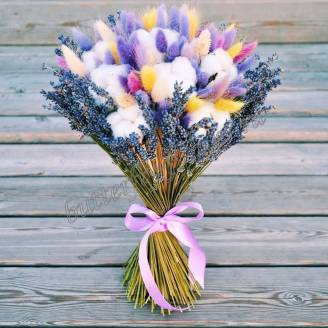 "Bouquet of dried flowers - lagurus, lavender and cotton ""Rainbow in the clouds"""