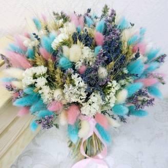 "A bouquet of dried flowers - lagurus, lavender, limonium and triticum ""Native expanses"""