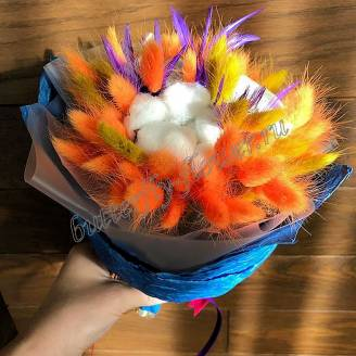 "Bouquet of dried flowers - lagurus and cotton ""Firebird"""