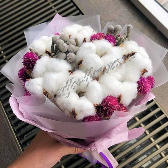 """Bouquet of dried flowers - cotton and brunia """"Prickly fluffy"""""""