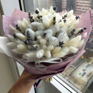 "Bouquet of dried flowers - lagurus, cotton and lavender ""Warm"""