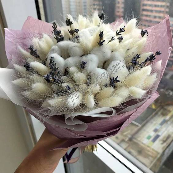 """Bouquet of dried flowers - lagurus, cotton and lavender """"Warm"""""""