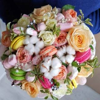 """Food bouquet of roses, cotton and sweets """"Sweet No. 808"""""""