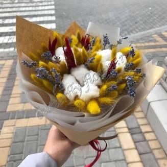 "Bouquet of dried flowers - lagurus, cotton, lavender and feathers ""Velvet season"""