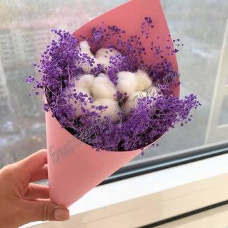 """Bouquet of dried flowers - cotton and gypsophila """"Lavender cloud"""""""