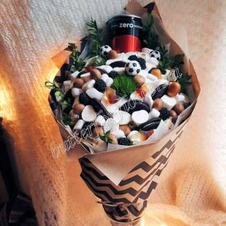 """Food bouquet of marshmallows, marmalade, soft caramel and cookies """"Sweet No.812"""""""