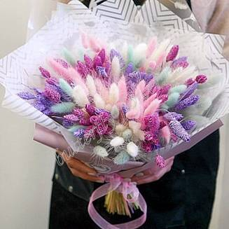 "Bouquet of dried flowers - lagurus and fallaris ""Fireworks"""