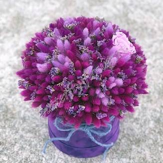 """Bouquet of dried flowers - lagurus, lavender and stabilized roses in the design box """"Purple Dreams"""""""