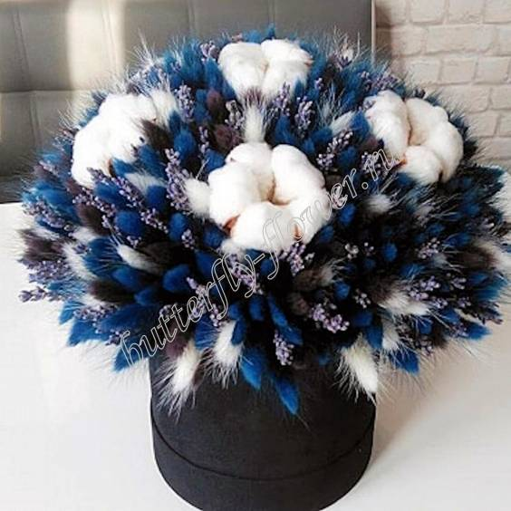 """A bouquet of dried flowers - lagurus, lavender and cotton in a designer box """"Starry sky"""""""