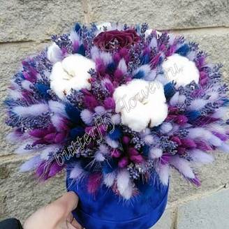 "Bouquet of dried flowers - lagurus, lavender, cotton and stabilized roses in designer box ""Ocean"""