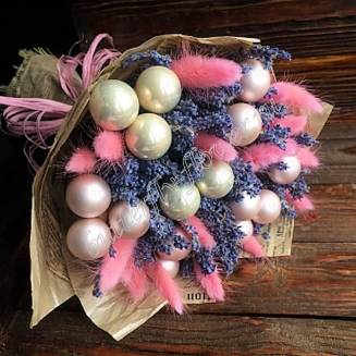 """A bouquet of dried flowers - lagurus, lavender and Christmas decorations """"Star Balance"""""""