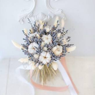 """Bouquet of dried flowers - lagurus, lavender and cotton """"Frida"""""""