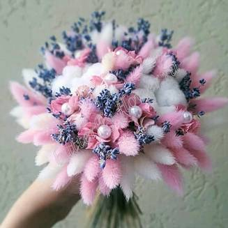 """Bouquet of dried flowers - lagurus, lavender, stabilized hydrangea and cotton """"Avory"""""""