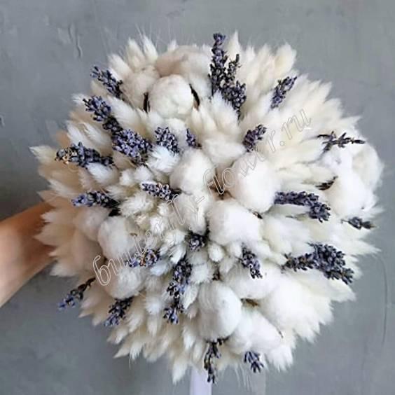 "Bouquet of dried flowers - lagurus, lavender and cotton ""Chantal"""