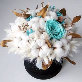 "Bouquet of dried flowers - lagurus, cotton, stabilized roses and eucalyptus in the designer box ""Madina"""