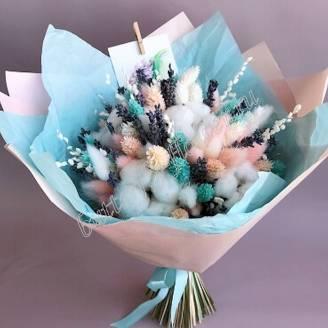 "Bouquet of dried flowers - lagurus, fallaris, lavender and cotton ""Stephanie"""