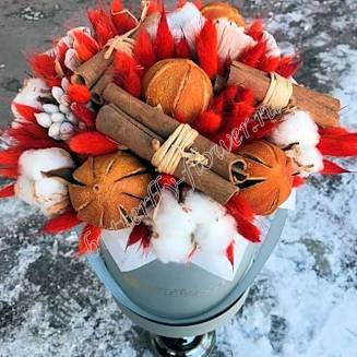 "Bouquet of dried flowers - lagurus, cotton, oranges and cinnamon in design box ""November"""