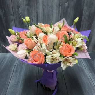 "Bouquet of roses, eustoma and tulips ""Timid kiss"""