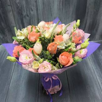 """Bouquet of roses, eustoma and tulips """"Timid kiss"""""""