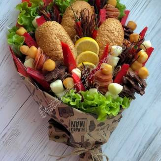 "Food meat bouquet of sausage, vegetables and cheese ""For Man No.903"""