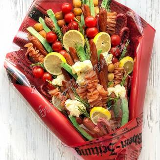 "Food meat bouquet of sausage, vegetables and cheese ""For Man No.905"""