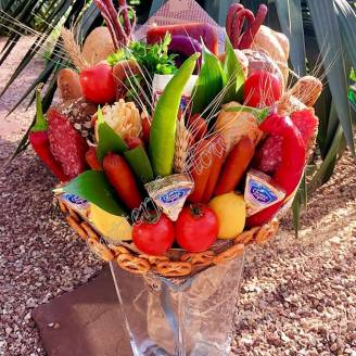 "Food meat bouquet of sausage, vegetables and cheese ""For Man No.906"""