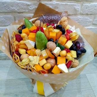 "Food meat bouquet of cheese, nuts, fruits and berries ""For Man No.907"""