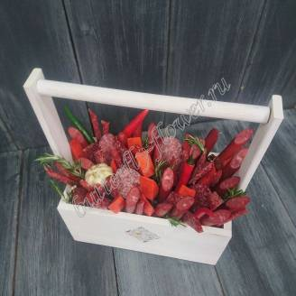 "Food meat bouquet of sausage, vegetables and cheese in a wooden box ""For Man No.909"""