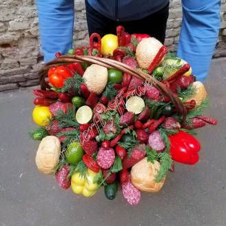 "Food meat bouquet of sausages, vegetables and cheese in a basket ""For Man No.910"""