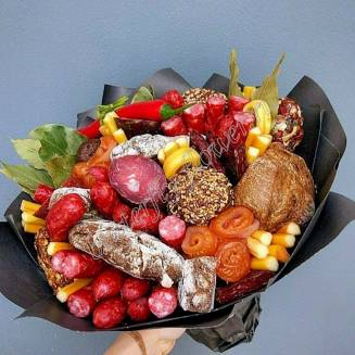 "Food meat bouquet of sausage, vegetables and cheese ""For Man No.911"""