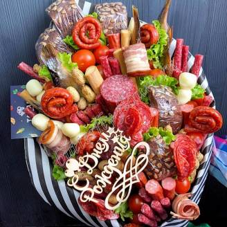 "Food meat bouquet of sausage, vegetables and cheese ""For Man No.912"""