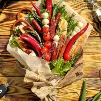 "Food meat bouquet of sausage, vegetables and cheese ""For Man No.913"""