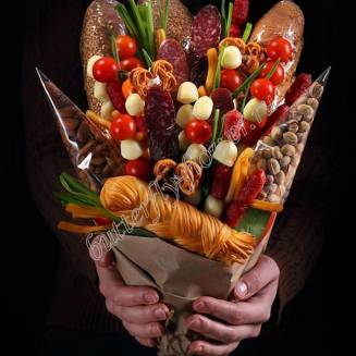 "Food meat bouquet of sausage, vegetables and cheese ""For Man No.914"""