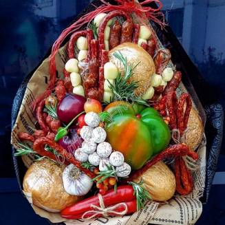 "Food meat bouquet of sausage, vegetables and cheese ""For Man No.915"""