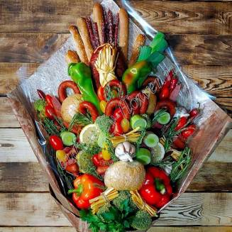 "Food meat bouquet of sausage, vegetables and cheese ""For Man No.916"""