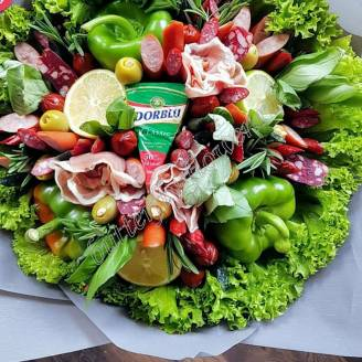 "Food meat bouquet of sausage, vegetables and cheese ""For Man No.917"""