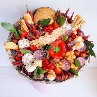 "Food meat bouquet of sausage, vegetables and cheese ""For Man No.918"""