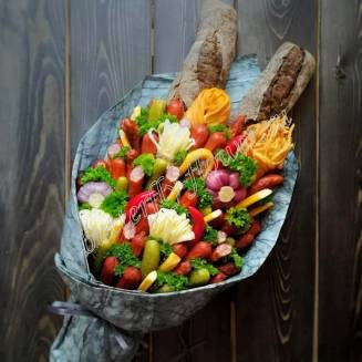 "Food meat bouquet of sausage, vegetables and cheese ""For Man No.923"""